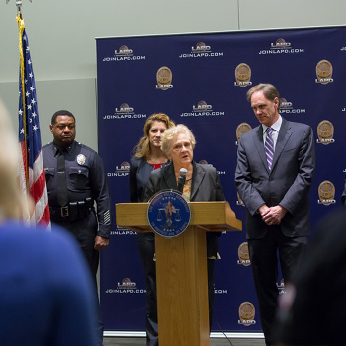 Dean Marilyn Flynn speaks at a press conference announcing the Law Enforcement Advanced Development program