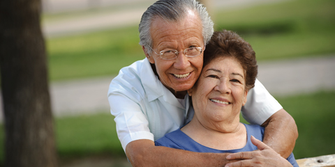 Elderly Latino couple
