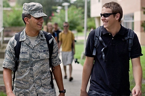 military student on campus
