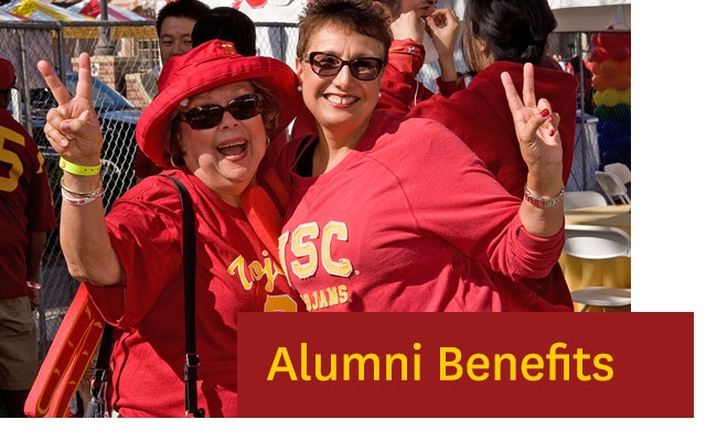 Photo of two alumni with caption of Alumni Benefits